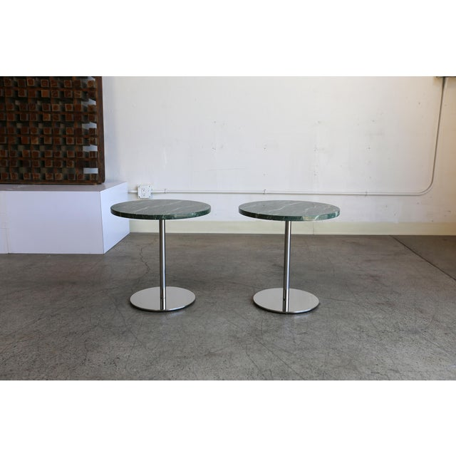 Mid-Century Modern Marble & Stainless Steel Side Tables - a Pair For Sale - Image 3 of 9