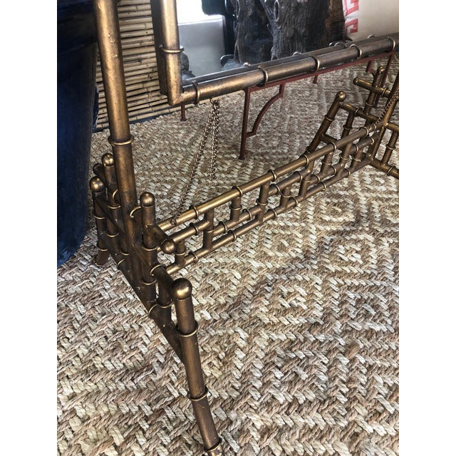 Metal Gold Faux Bamboo Floor Mirror For Sale - Image 7 of 10