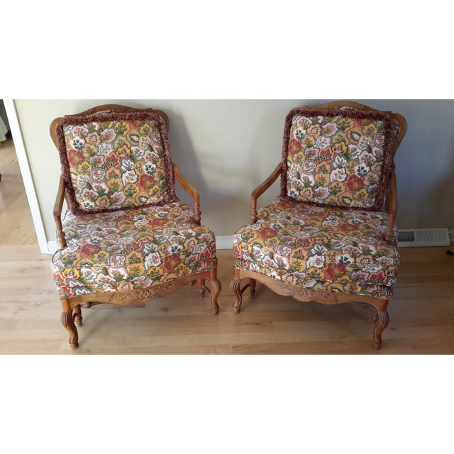 Country French Style Chairs and Ottoman Set - Image 6 of 7