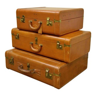Vintage Mid-Century Hanco Brown Leather Hard Luggage - Set of 3