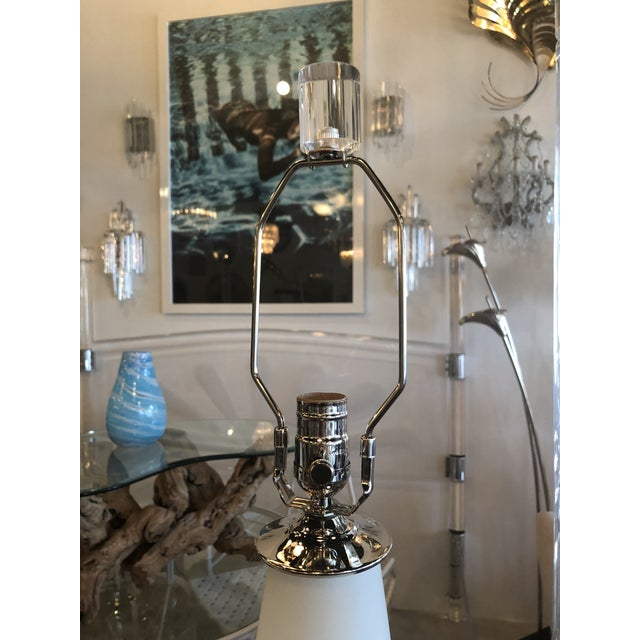 Vintage Murano Frosted Glass Chrome Lucite Table Lamps - A Pair For Sale - Image 9 of 11