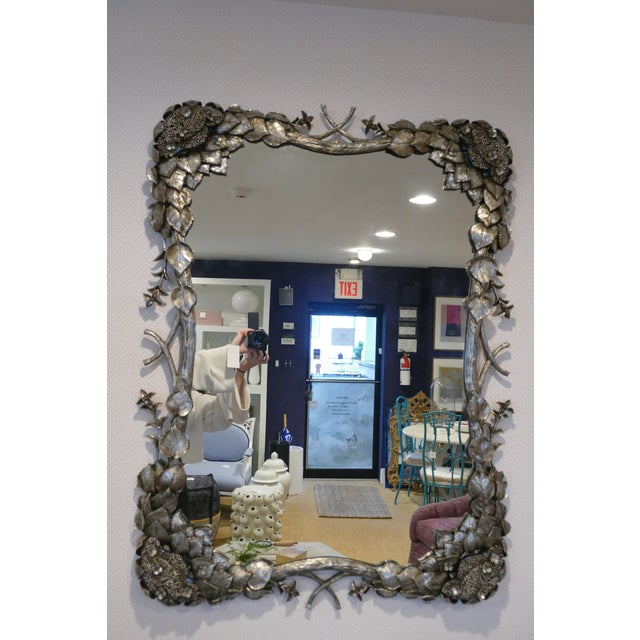 2020s Climbing Hydrangea Mirror in Nickel For Sale - Image 5 of 5