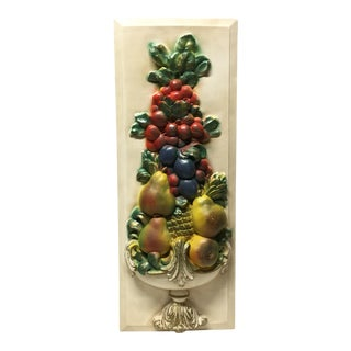 Large 1950s Topiary Vintage Wall Plaque in Plaster For Sale