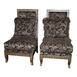 1980s Vintage Neo-Classic Style Designer Accent Chairs- A Pair For Sale