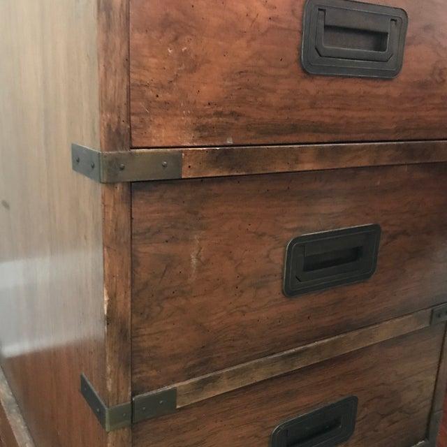 Vintage Baker Furniture Walnut Campaign Style Partner Desk For Sale - Image 10 of 11