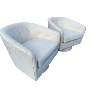 Marge Carson White Coastal Swivel Lounge Chairs - a Pair Preview