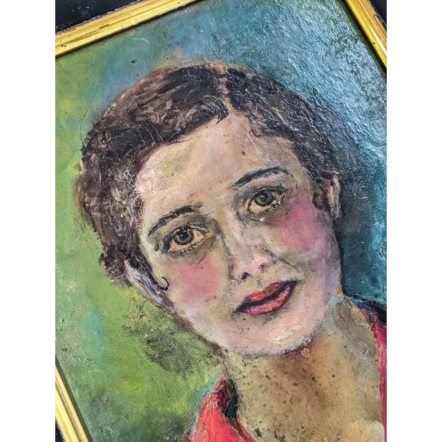 Mid 20th Century Vintage Oil Painting, Portrait of Women With Antique Victorian Frame For Sale - Image 5 of 6