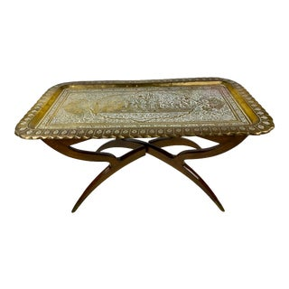 Mid-Century Moroccan Style Etched Brass Tray Coffee Table For Sale