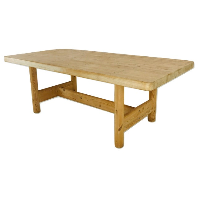 Substantial Solid Scandinavian Pine Butcher Block Dining Table For Sale In Dallas - Image 6 of 13