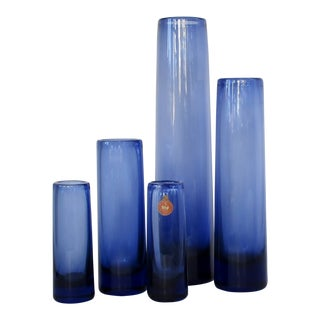 Per Lütken Blown Glass Vases, Set of 5 For Sale