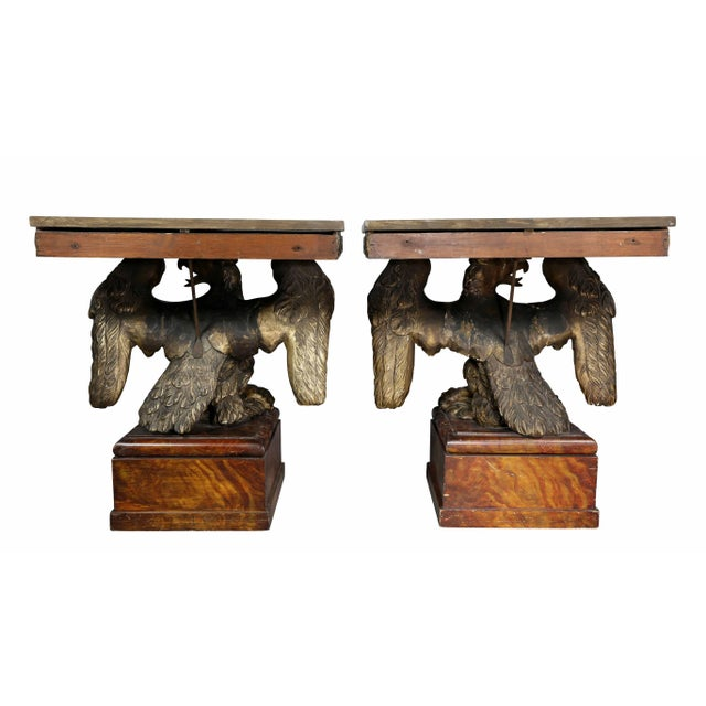 Pair of George II Style Giltwood and Grey Marble Eagle Console Tables For Sale - Image 9 of 10