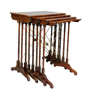 Regency Mahogany and Burl Elm Quartetto Nesting Tables - Set of 4 For Sale