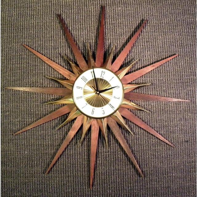 Vintage Elgin Mid Century Star Burst Wall Clock - Image 6 of 8