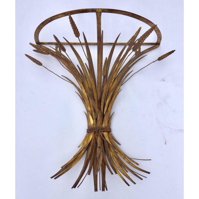 Vintage Gilded Metal Sheaf of Wheat Console Table Base For Sale - Image 13 of 13