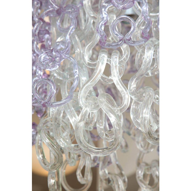 Vintage Vistosi Lavender and clear Murano link chandelier with newly made frame.