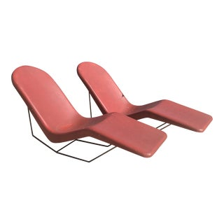 1960s Space Age Modern Cranberry Fibrella Chaise Lounge Chairs - a Set of Two For Sale