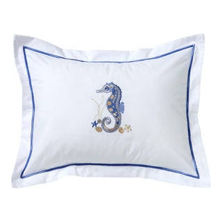 Blue Seahorse & Shells Boudoir Pillow Cover, Embroidered For Sale