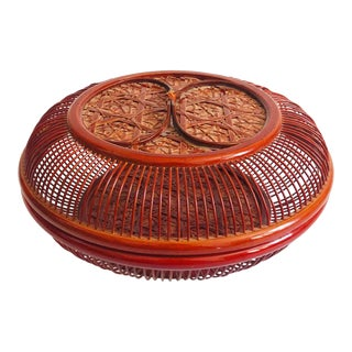 Vintage Circular Red Wicker Lidded Basket Box For Sale