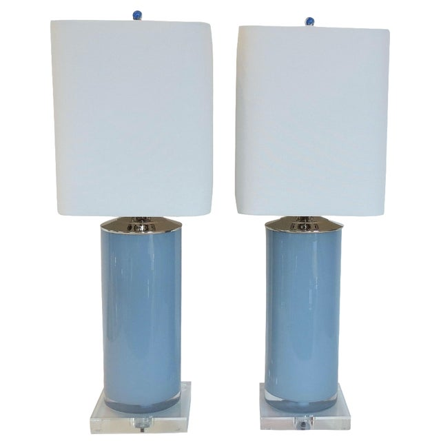 Silver Fox Blue Cylinder Glass Lamps - A Pair - Image 1 of 6