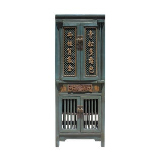 Chinese Distressed Teal Gray Blue Narrow Wood Carving Storage Cabinet For Sale