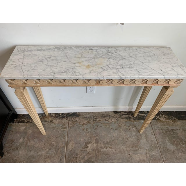 Mid 20th Century Gustavian Style Wood Carved Console With Carrara Marble Top For Sale - Image 5 of 6
