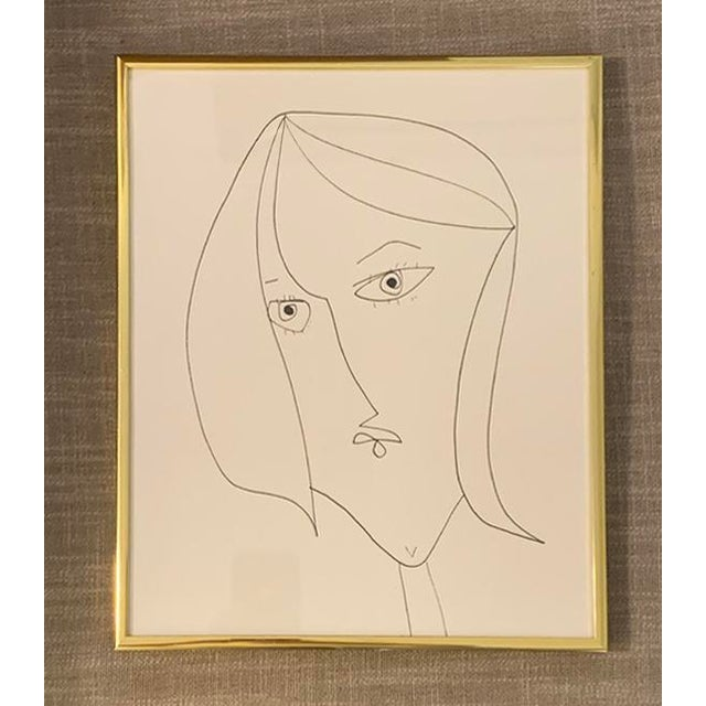 Contemporary Portrait of a Lady Ink Drawing, Framed For Sale - Image 4 of 4