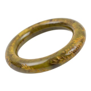 Bakelite Carved Bracelet Bangle Green and Black Marble For Sale
