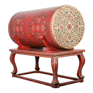 Hand-Painted Chinese Ceremonial Drum and Stand