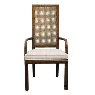 Late 20th Century Vintage Henredon Scene One Campaign Style Cane Back Arm Chair For Sale