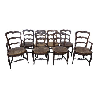Set Eight Vintage French Country Rustic Oak Ladderback Rush Seat Dining Chairs For Sale