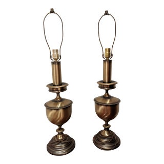 1950s Antique Brass Finish Table Lamps- A Pair For Sale