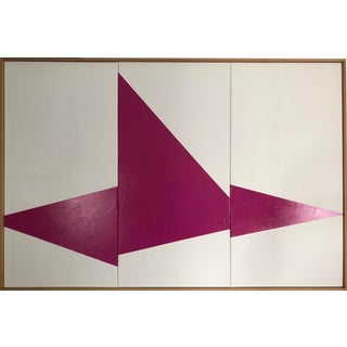 "Original Acrylic Painting ""Pink on Point Triptych Jet0596"" For Sale"
