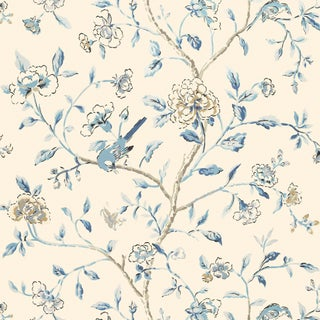 Sample - Schumacher Annabelle Vine Wallpaper in Porcelain For Sale