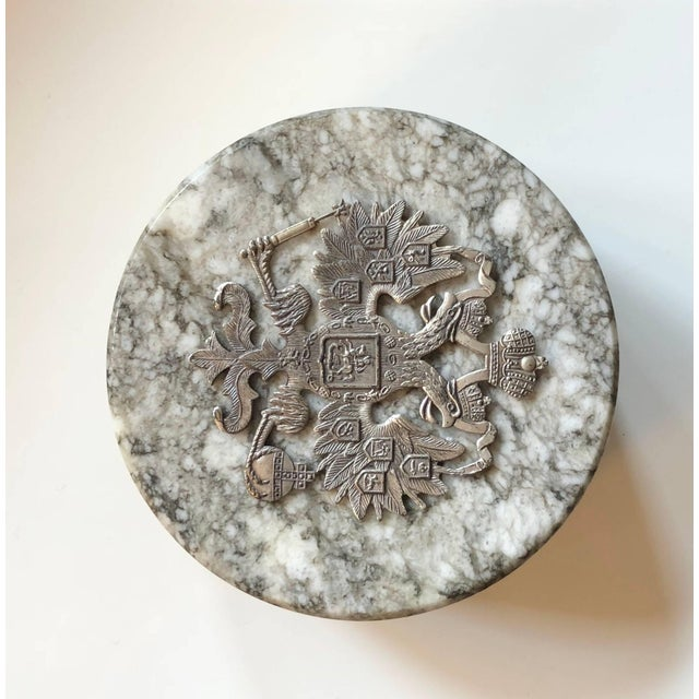 20th Century Neoclassical Russian Tiger Skin Marble Round Box For Sale - Image 4 of 8