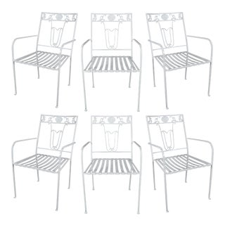 1950s Seashell & Seahorse White Patio Chairs - Set of 6 For Sale