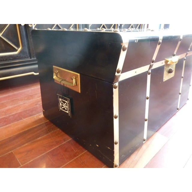 Art Deco Lane Small Black Trunk with Brass Straps For Sale - Image 3 of 8