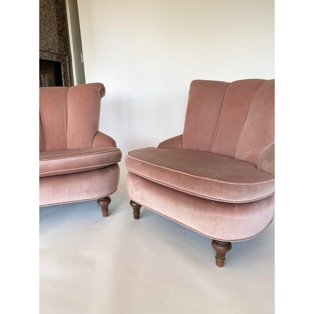 1940's Vintage Pink Easy Lounge or Slipper Chairs in Velvet - a Pair For Sale - Image 4 of 10