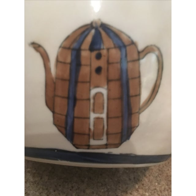Ceramic Ginger Jar with Hand Painted Teapot Motif - Image 6 of 7