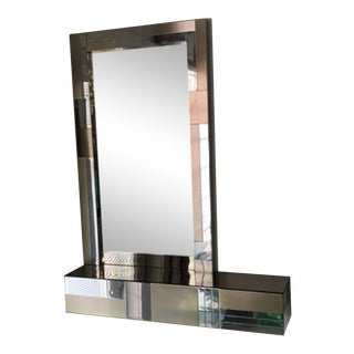 Paul Evans Style Mid Century Modern Cityscape Mirror & Console For Sale