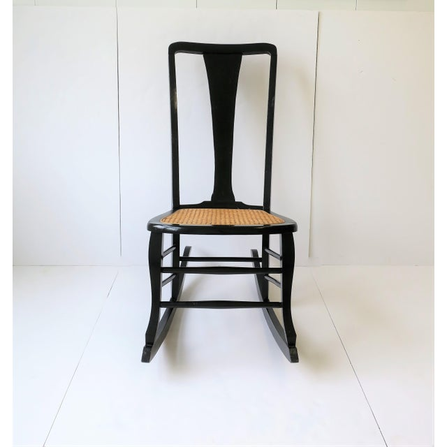 Vintage Mid Century Black Lacquer and Cane Rocking Chair For Sale - Image 11 of 13