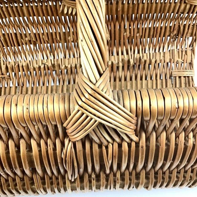 Camel Vintage Wicker Log Basket & Magazine Rack For Sale - Image 8 of 13
