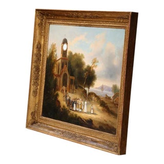 """French Oil Church Painting """"La Procession"""" For Sale"""