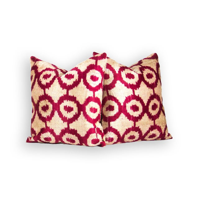 Geometric Red & Ivory Silk Ikat Pillow A Pair - Image 2 of 3