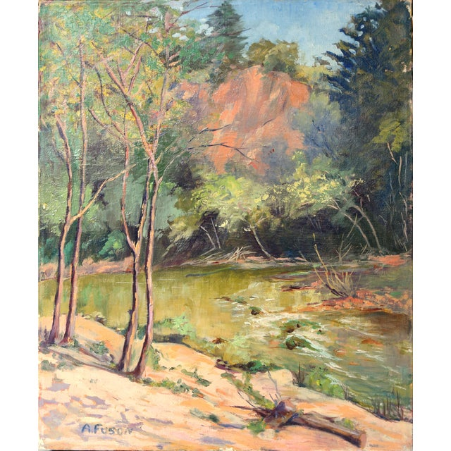 1950s Vintage California Forest and Stream Painting For Sale
