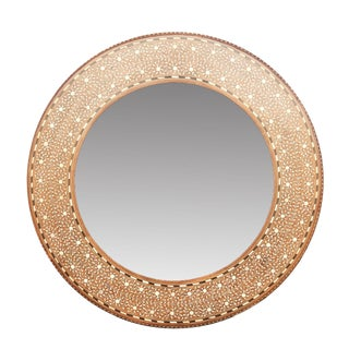 Zellige Round Bone Inlay Mirror For Sale