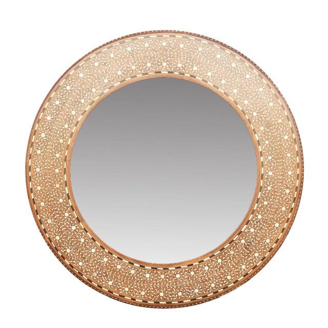 Zellige Round Bone Inlay Mirror For Sale