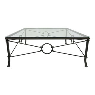 Vintage Metal & Glass Top Coffee Table For Sale