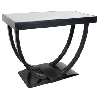 Art Deco Machine Age Streamlined Ebonized Walnut and Mirror Side Table For Sale