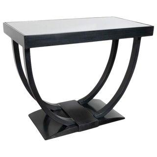 Art Deco Machine Age Streamlined Ebonized Walnut and Mirror Side/End Table For Sale