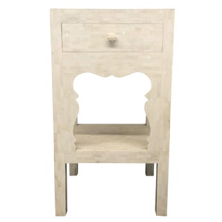 Bone Inlay Tall Side Table For Sale